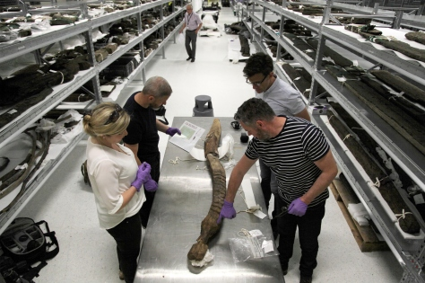 Examining the Kilbeg Figure with Michael Stanley at the National Museum storage facility in Swords.